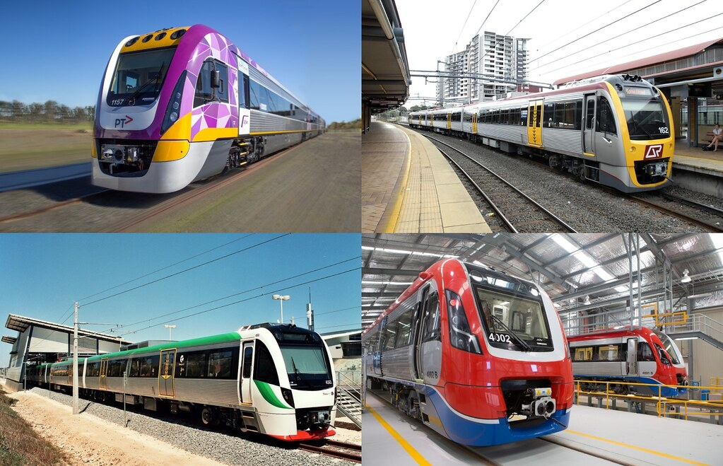 Bombardier publicity photos: from top-left, clockwise: Victoria, Brisbane, Adelaide, Perth