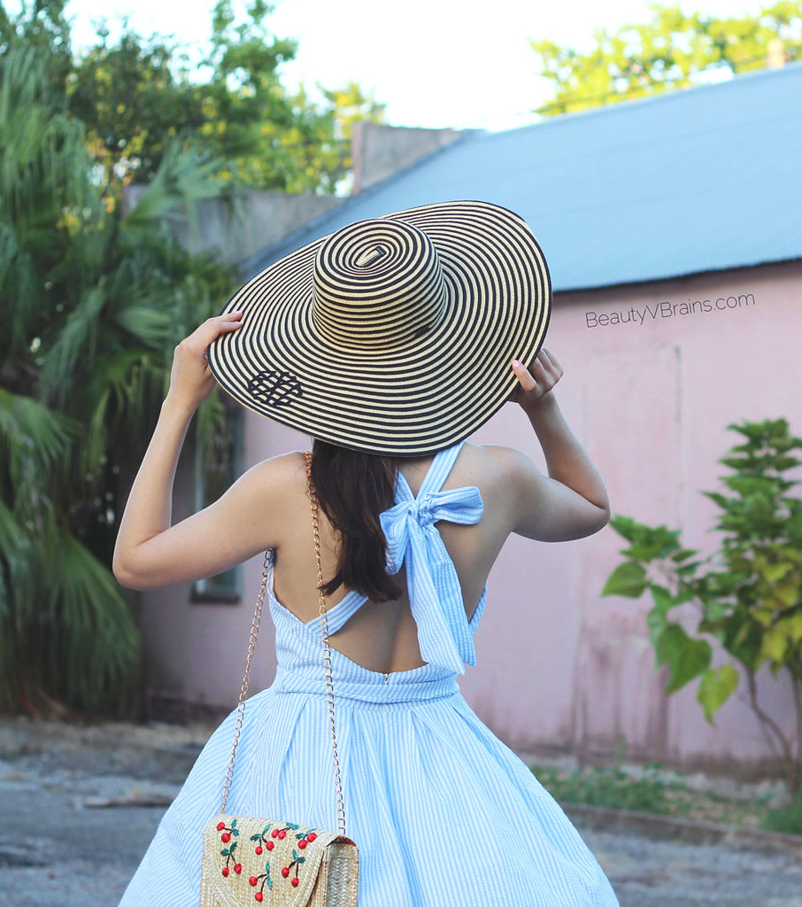 Marleylillly stripe monogrammed sun hat and bow back sun dress