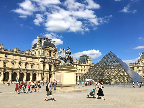 The Louvre, with I.M. Pei glass pyramid. Paris, France