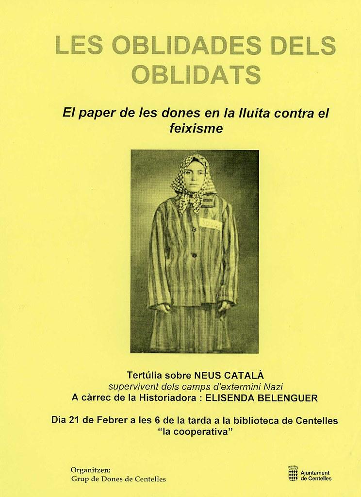 Cartell de la Tertúlia sobre la Neus Català a Centelles el 2013