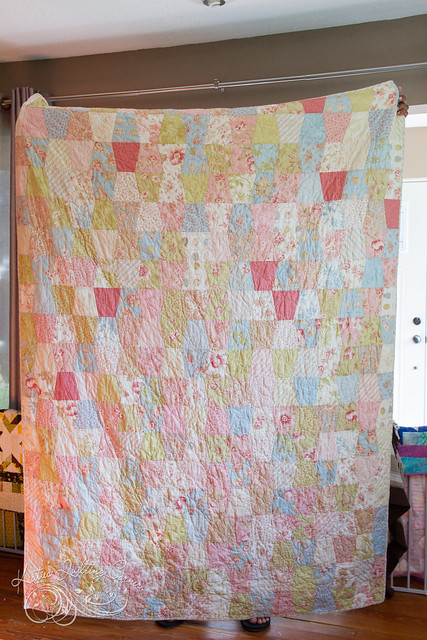 Avonlea - Tumbling charms quilt with Aviary by 3 sisters fabric