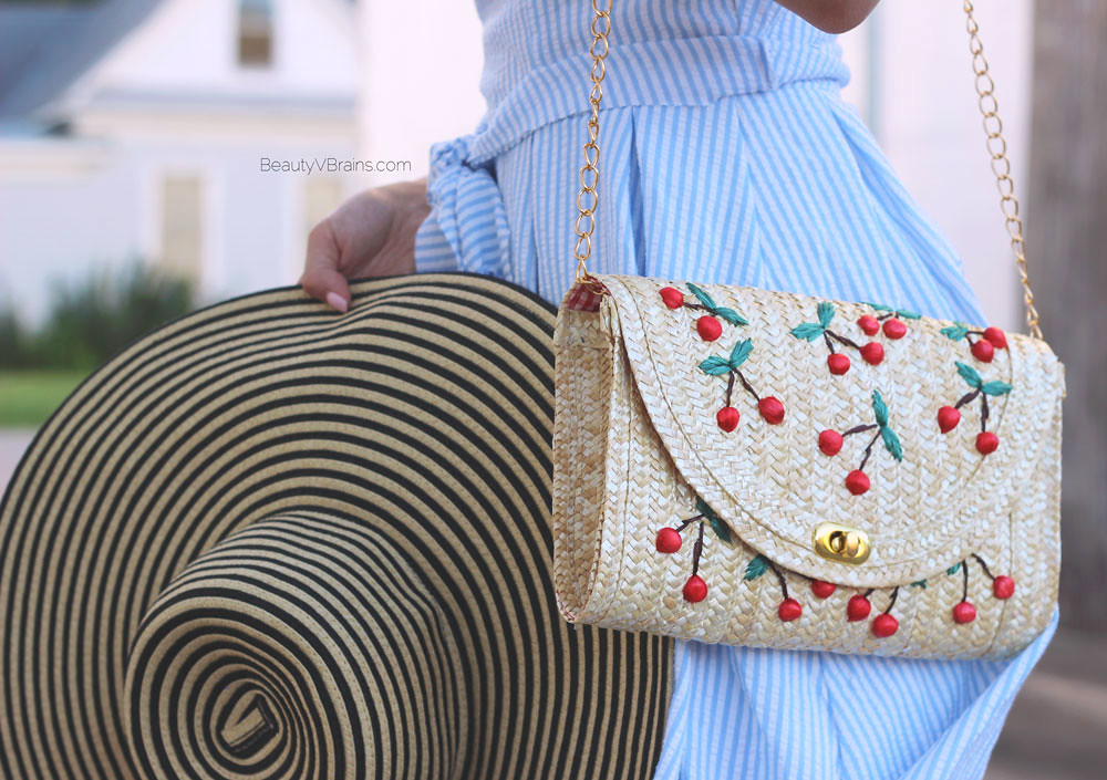 Cherry novelty bag and striped sun hat