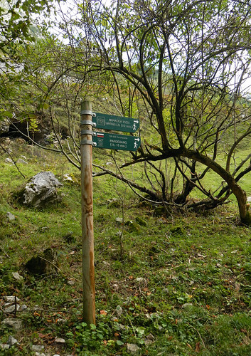 Signs leading to walks in the village of Bulnes in Spain