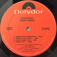 SHAKATAK:NIGHT BIRDS(LABEL SIDE-B)
