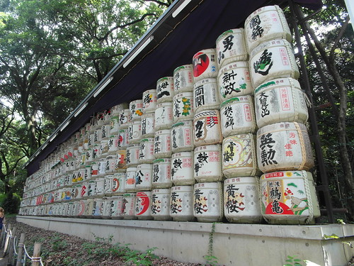 Meiji Jingu shrine barrels of sake