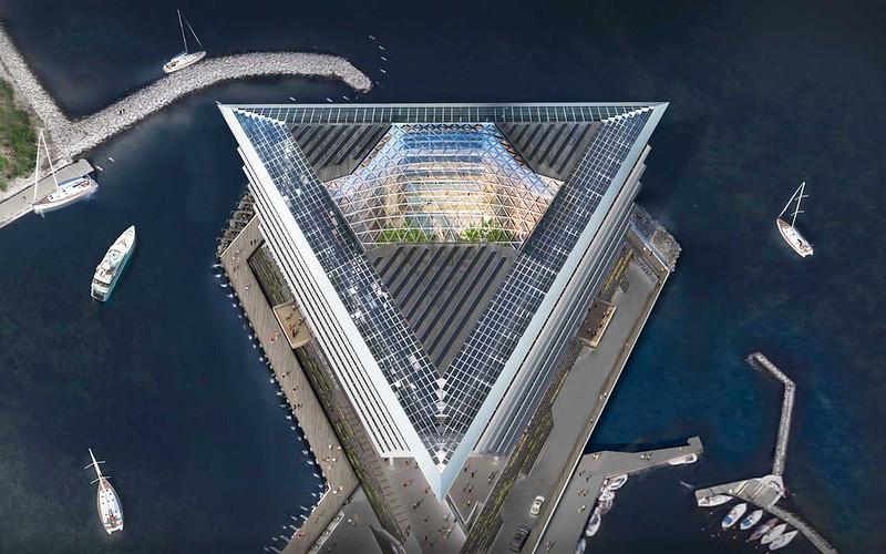 Треугольное здание Ferring Pharamceuticals в Дании
