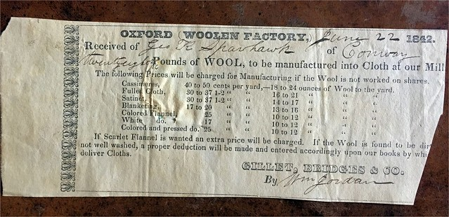 oxford woolen mill receipt