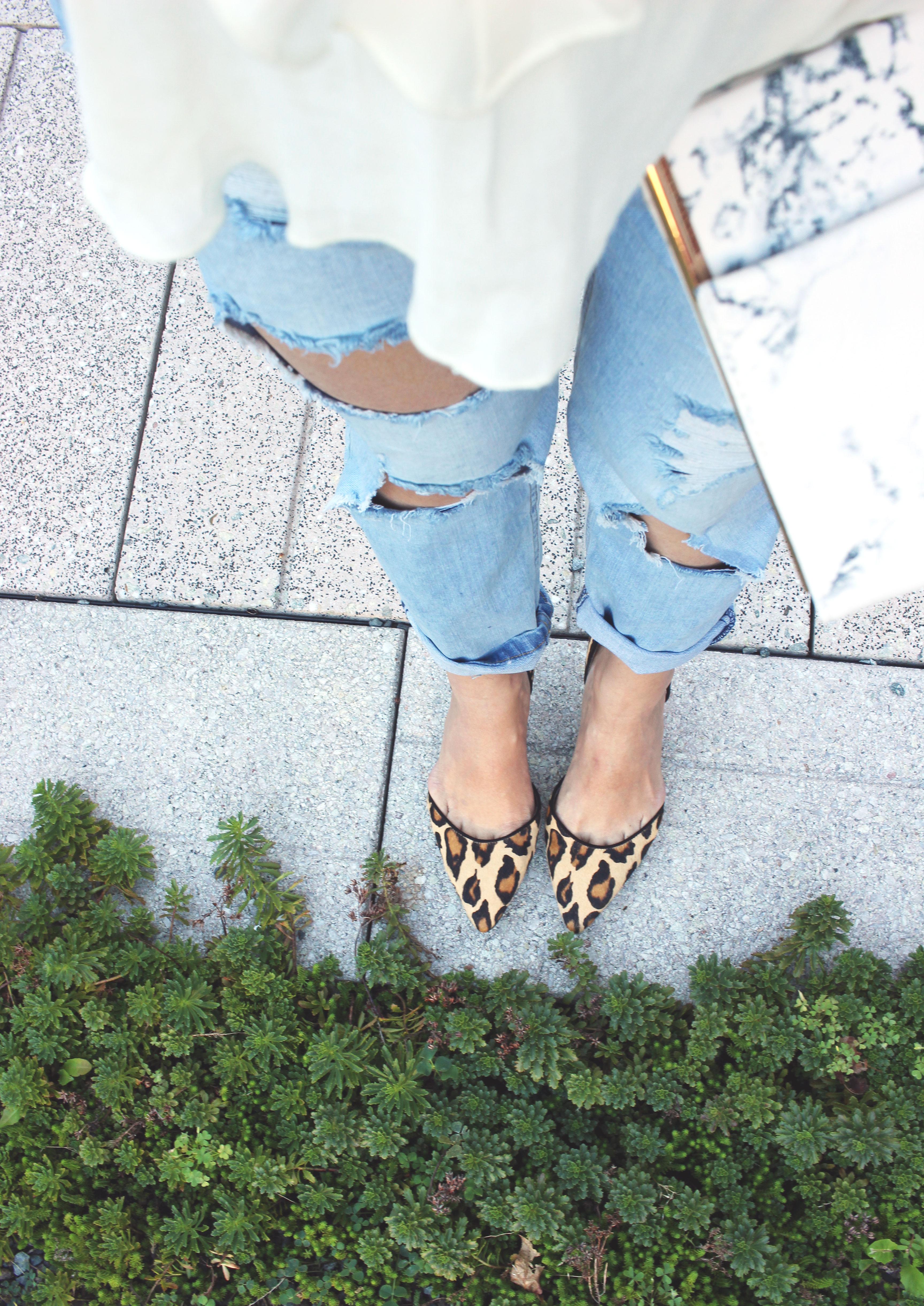 Destroyed knee jeans and leopard kitty heel Sam Edelman