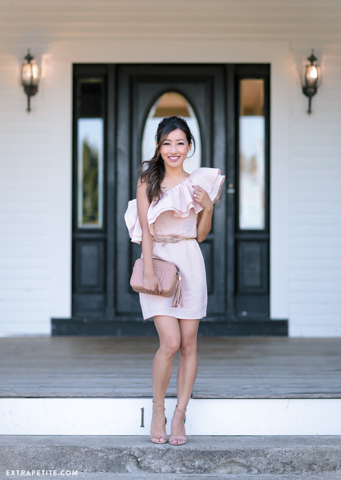 pink one shoulder ruffle dress wedding guest outfit