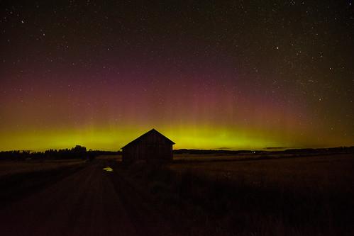 Countryside aurora borealis