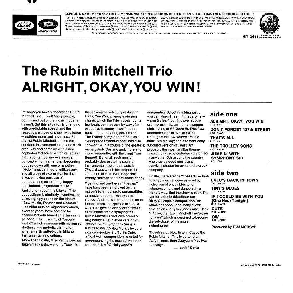 The Rubin Mitchell Trio - Alright, Okay, You Win!