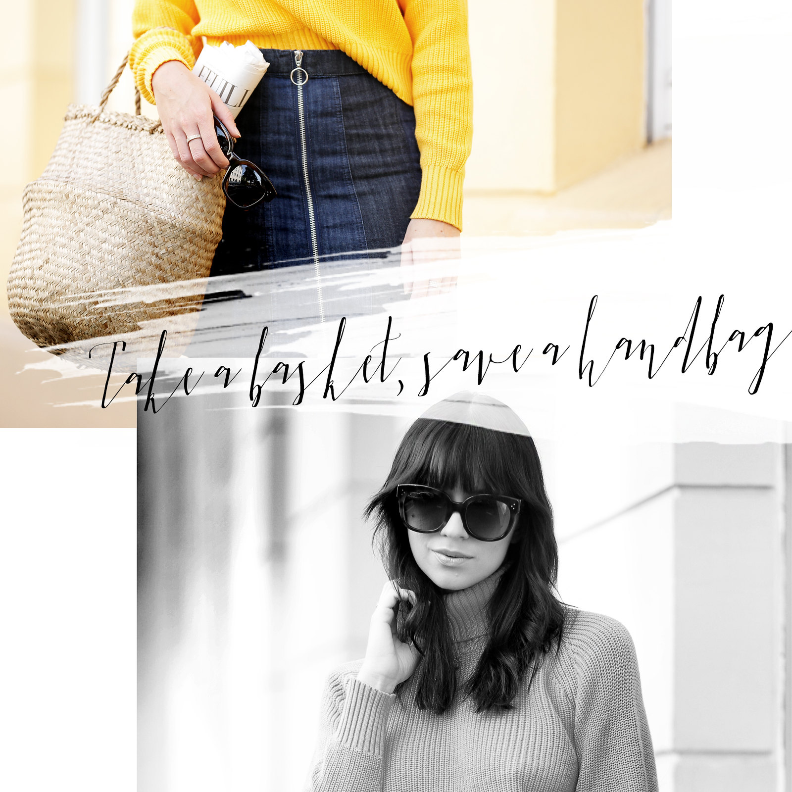 ootd outfit yellow knit turtleneck mini skirt basket jane birkin francoise hardy inspired french icons parisienne style bangs brunette céline audrey sunglasses cats & dogs fashion blog ricarda schernus modeblog fashionblogger germany berlin 1