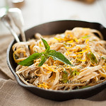 Pasta with Citrus Zest, Mint in a Creamy Cognac Sauce