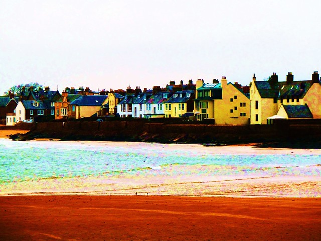 Elie beach and village, Fife, Scotland.