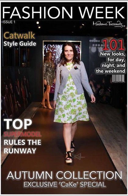 A mock up of a fashion magazine featuring a woman wearing a shift dress in a vintage floral print
