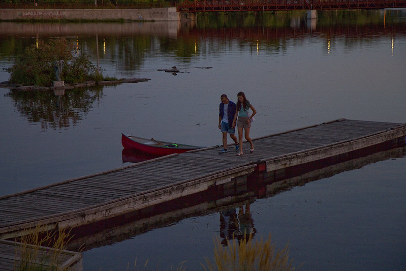 Night walk on a dock
