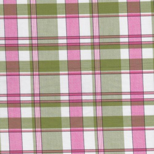 青綠粉紅格紋 襯衫洋裝服裝布料 FC390431