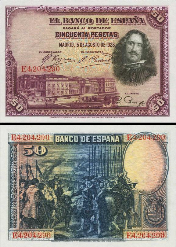 50 Pesetas Španielsko 1928, P75b