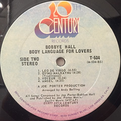 BOBBYE HALL:BODY LANGUAGE FOR LOVERS(LABEL SIDE-B)