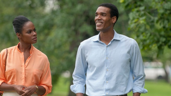 Tika Sumpter and Parker Sawyers offer stunningly familiar portrayals of Michelle and Barack Obama in SOUTHSIDE WITH YOU.