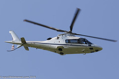G-GDSG - 2005 build Agusta A109E Power, departing down Runway 08 after a brief visit to the Heliport at Barton