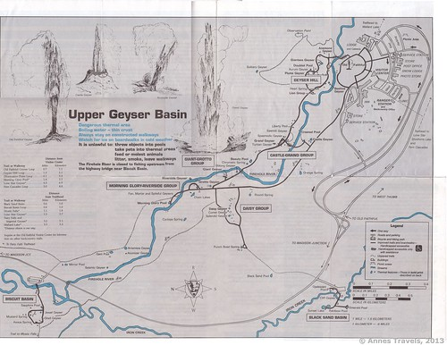 Old (c.1995) map of the Upper Geyser Basin, Yellowstone National Park, Wyoming