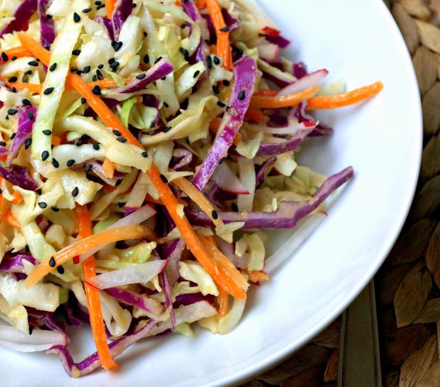 Asian Slaw Salad + Miso Ginger Dressing