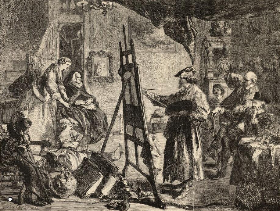 Rembrandt en train de peindre dans sa maison du jodenbuurt (quartier juif en néerlandais).