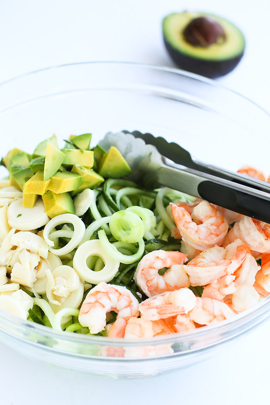 Chimichurri Cucumber Noodles with Shirmp, Avocado and Hearts of Palm…The flavors meld together so well in this healthy, fresh recipe! 245 calories and 5 Weight Watchers Freestyle SP