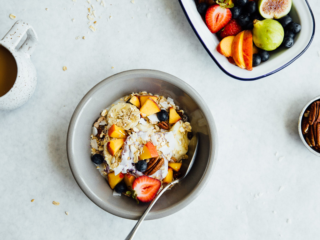 Muesli + coconut yogurt breakfast bowl