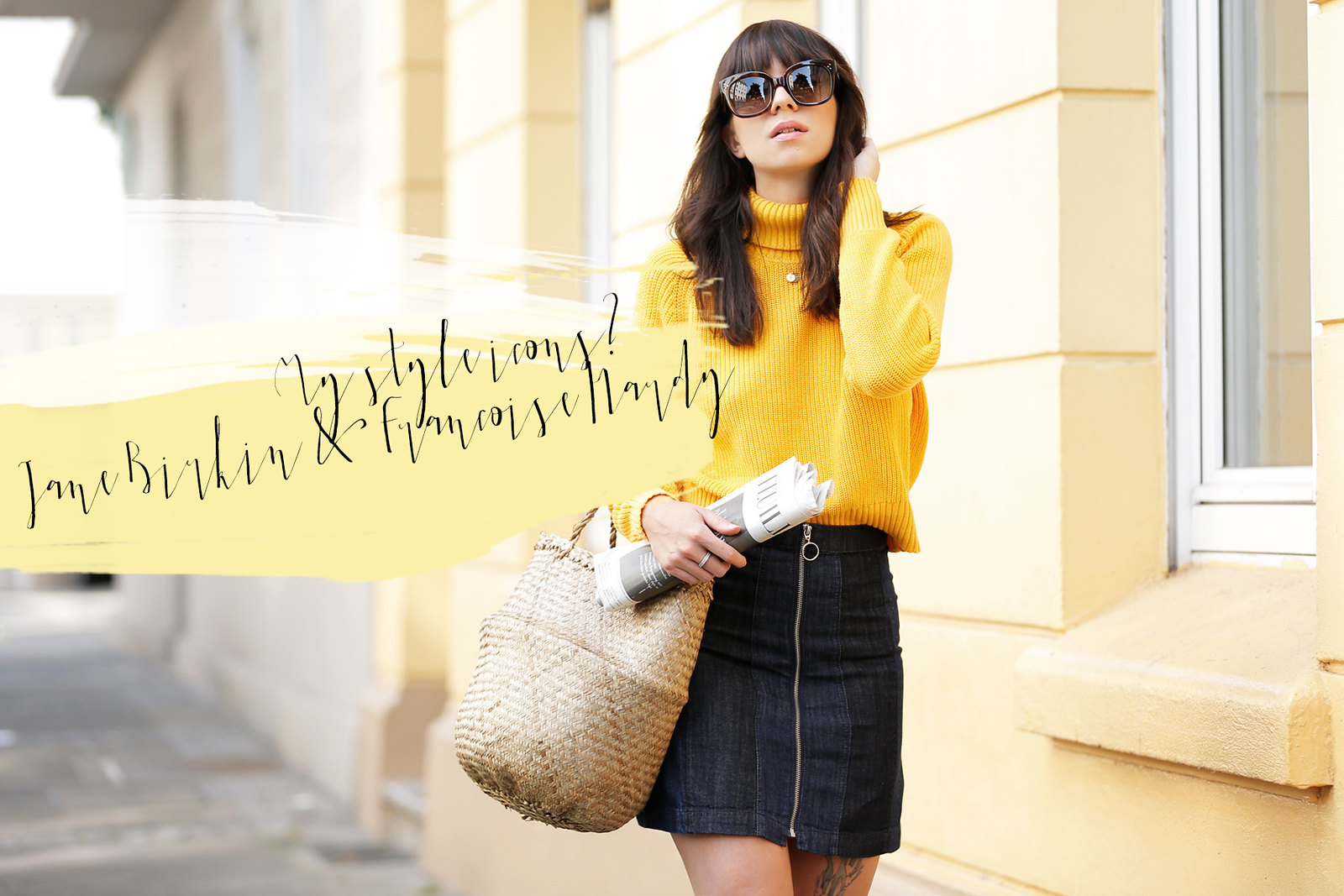 ootd outfit yellow knit turtleneck mini skirt basket jane birkin francoise hardy inspired french icons parisienne style bangs brunette céline audrey sunglasses cats & dogs fashion blog ricarda schernus modeblog fashionblogger germany berlin 4