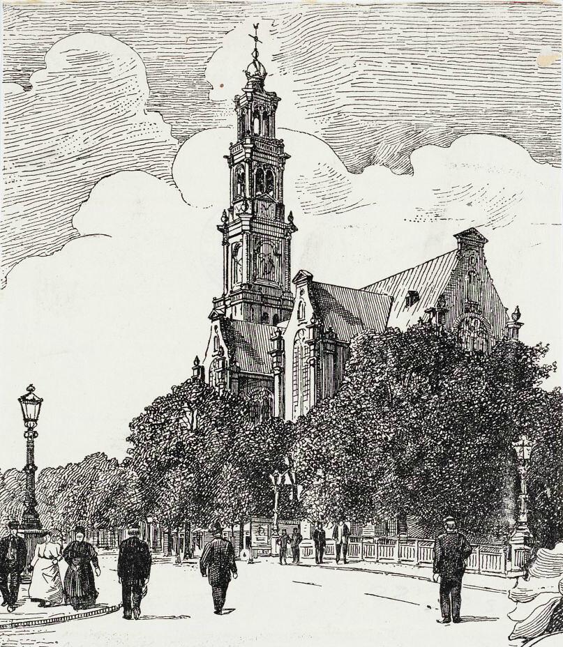 Dessin de l'église Westerkerk d'Amsterdam.