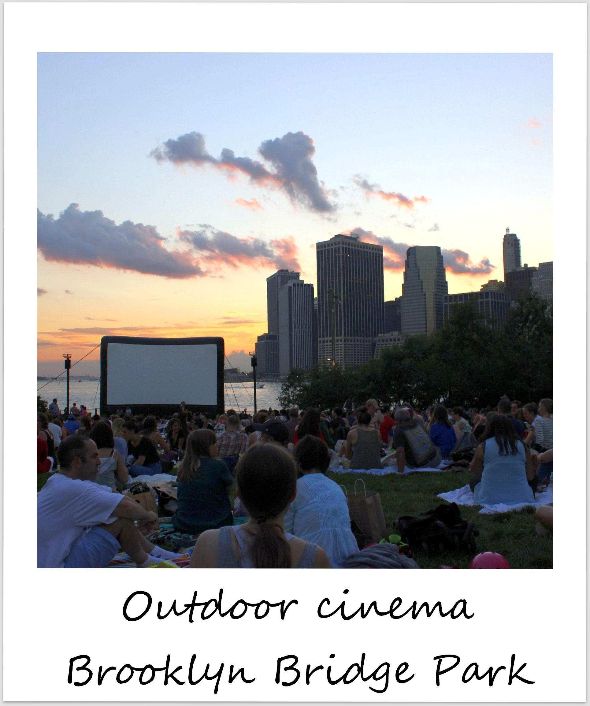 polaroid of the week new york city brooklyn bridge park outdoor movie