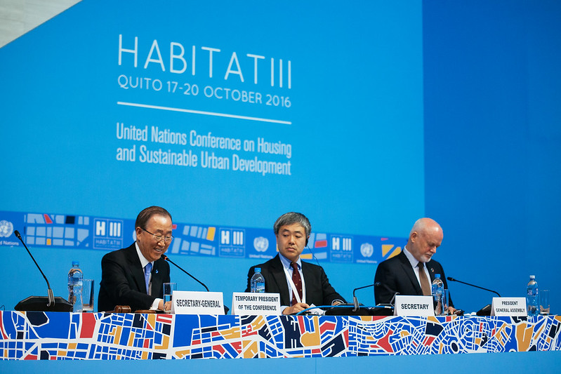Ban Ki Moon, General Secretary of the UN. Official opening in the first plenary meeting. Habitat III Conference on Housing and Sustainable Urban Development taken place in Quito, Ecuador from October 17th to 20th.
