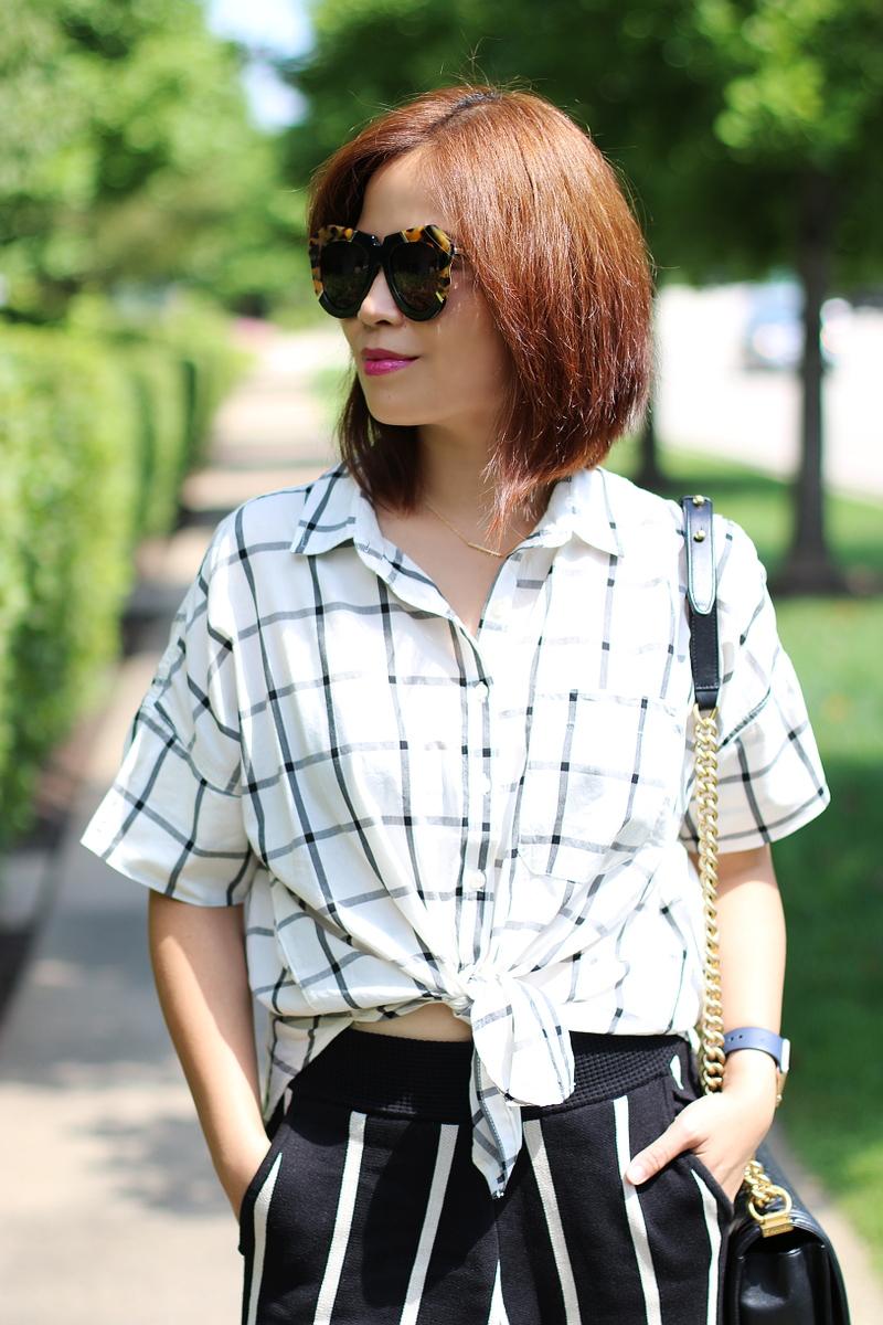 short-hair-plaid-shirt-stripe-pants
