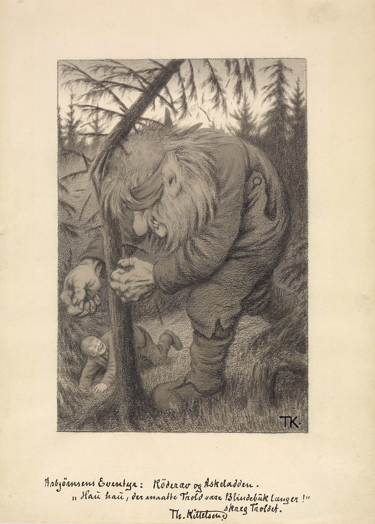 "Theodor Kittelsen - ""Hau, hau , it would troll be blind buck anymore! "" roared the troll. Illustration for "" Røderev and Ashlad "" P.Chr . Asbjørnsen , illustrated adventure . Udvalgte folktales , I. Collection . Christiania and Copenhagen in 1907"