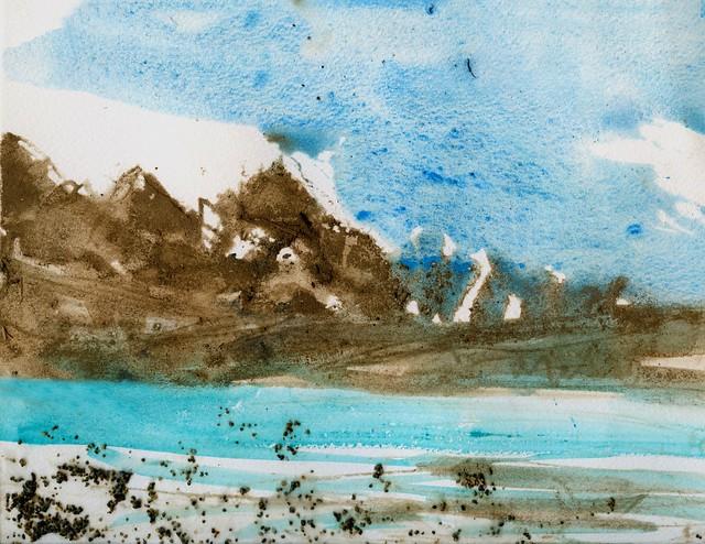 Alaska: Copper Mountain painted with soil, sand, watercolor, alder bark tea