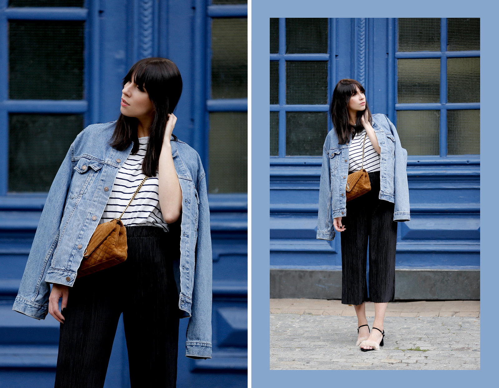 ootd outfit look lookbook denim style stripes ysl brown suede bag plissee pants zara furry sandals cats & dogs fashionblog ricarda schernus modeblogger germany berlin 6