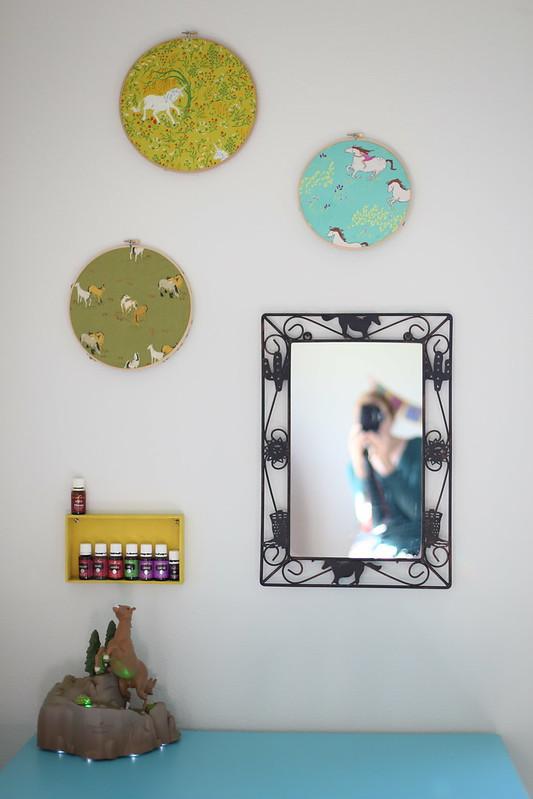 above her desk/vanity
