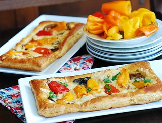 puff pastry pizza with mushrooms, bell peppers, cheese s2 | by JuliasAlbum.com