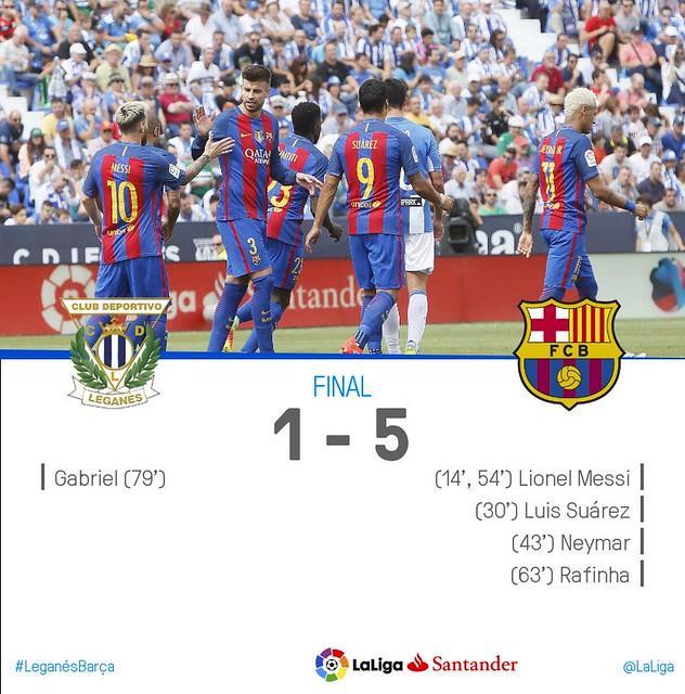 La Liga (Jornada 4): CD Leganés 1 - FC Barcelona 5