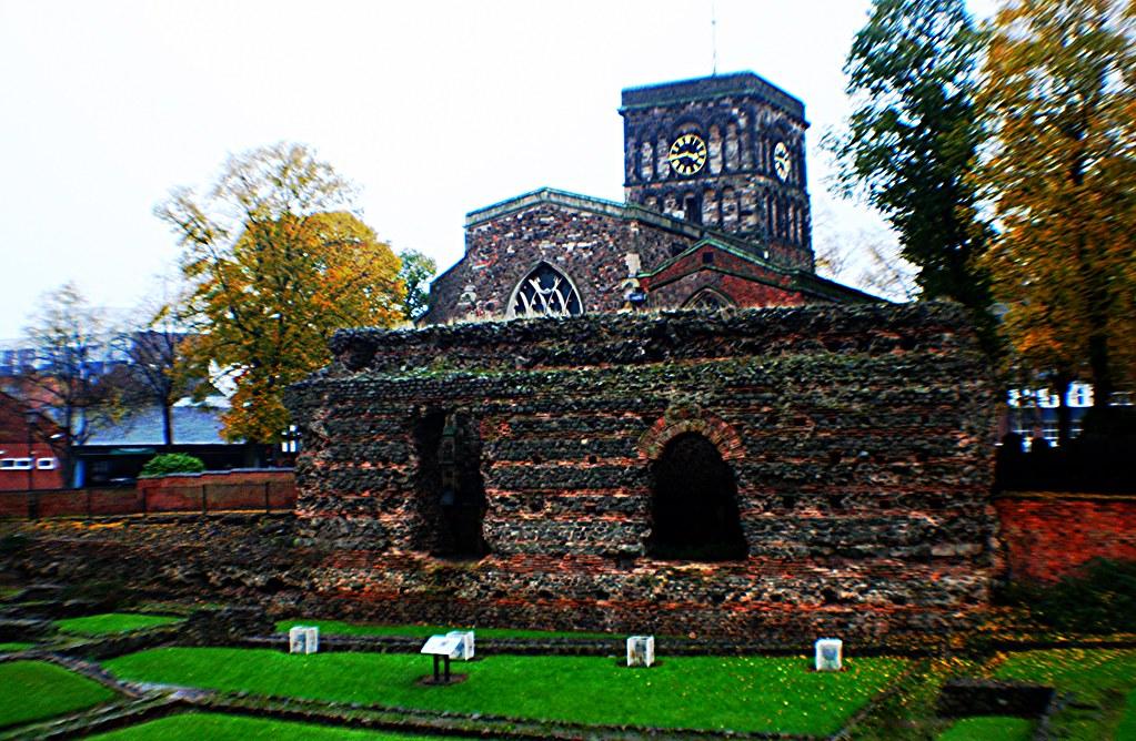 Roman Baths and Wall, Leicester, England.