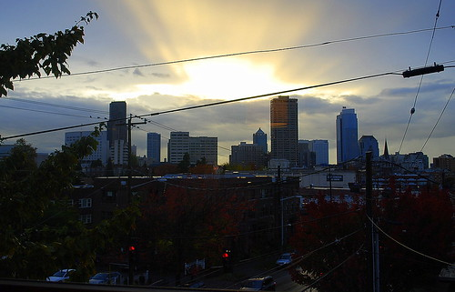 After Two Days of Rain:  Crepuscular Rays Over Downtown Seattle | by JoeInSouthernCA