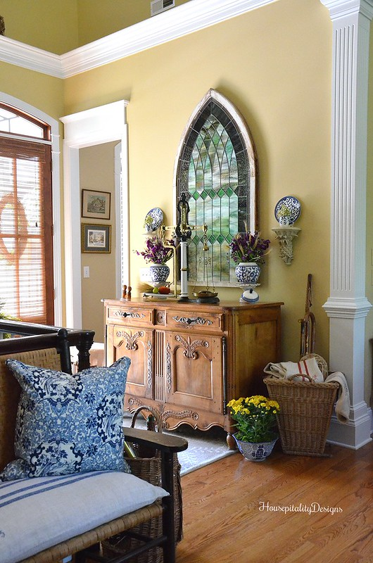Fall Foyer - Antique French Buffet - Antique Stained Glass Window - Antique French Gathering Basket - Housepitality Designs