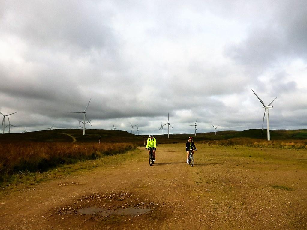 Cycling Whitelee Windfarm, Scotland.