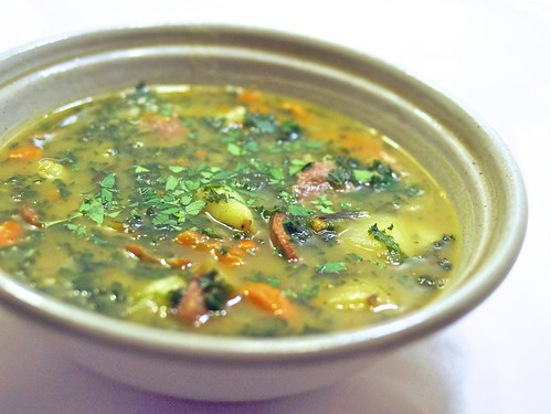 kale, kielbasa, and potato soup | by andy pucko
