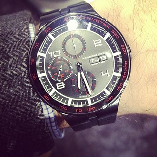 Wearing the @porschedesign Flat Six chrono for the event tonight. Come on by! | by HODINKEE