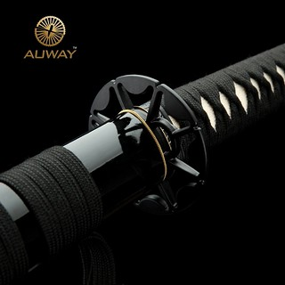 Auway-samurai-sword-Octagon-Tsuba-Black-scabbard-7