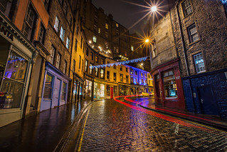 Victoria Street lights at night, Old town, Edinburgh, Scotland | by Lisa Bettany {Mostly Lisa}