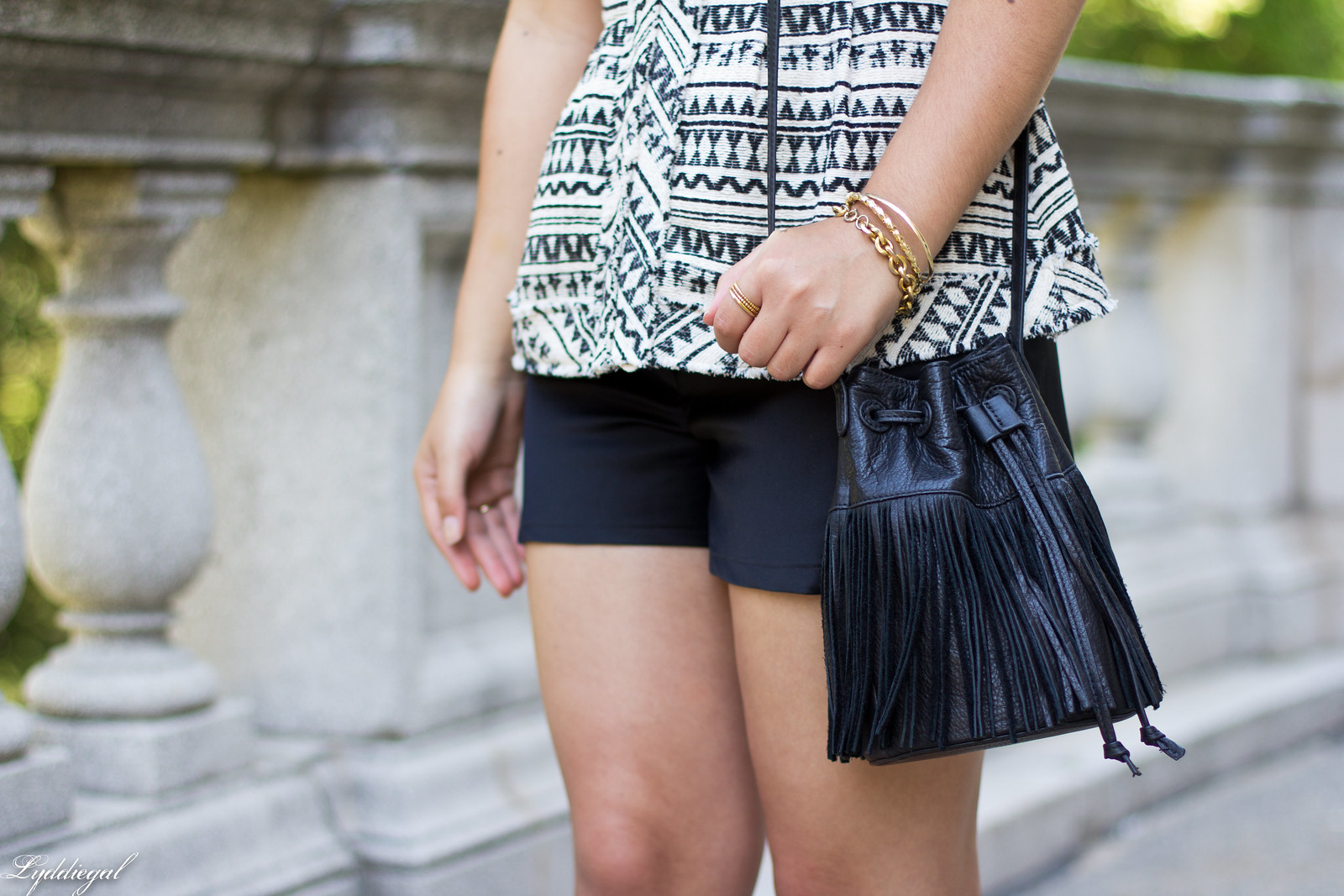 tribal peplum top, satin shorts, fringe bucket bag-7.jpg